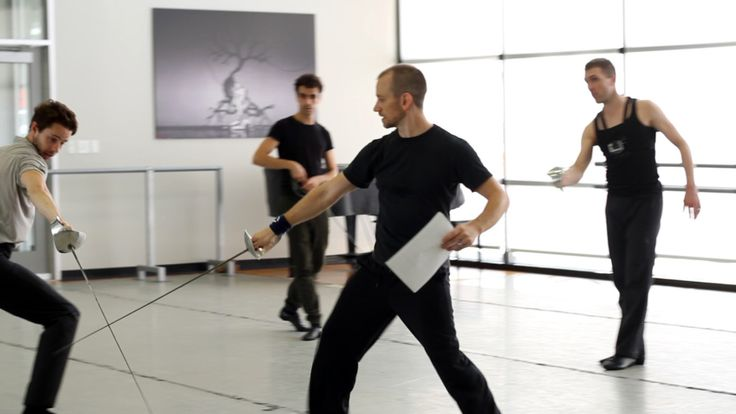 Fencing practice for upcoming Hamlet. (Photo by Anne Marie Bloodgood)