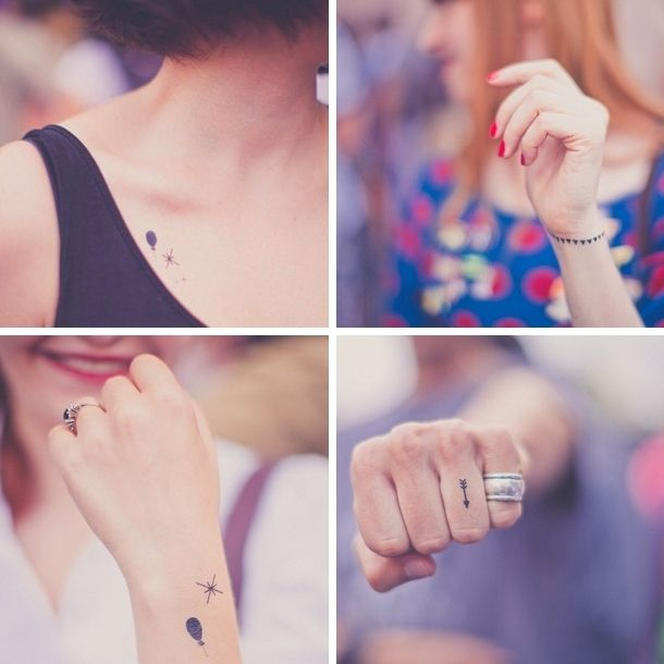 Dainty transfer tattoos as a cute and funny wedding favour - check the website for lots of other favour ideas.