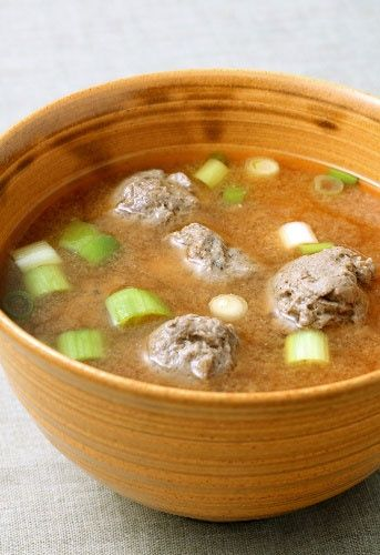 Sardine meatball soup - rough translation: Heat dashi broth. Remove pin bones from sardines, mince flesh to a paste, mix with grated fresh ginger and/or ginger juice to taste, and add enough flour to form into balls. Add to broth until heated through. Mix miso, shiitake mushrooms, and scallions into broth. Serve.: