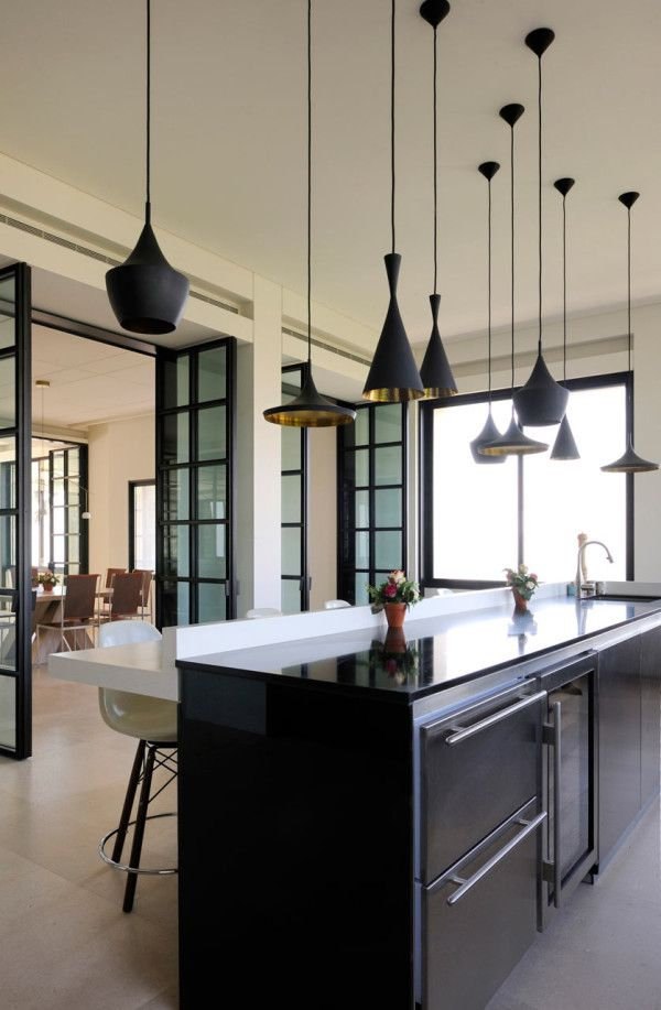Tom Dixon pendant lamps in the kitchen