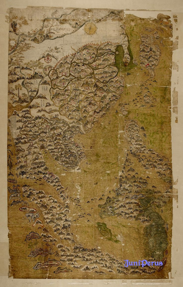 This remarkable watercolour map came to the Bodleian in 1659 from the executors of John Selden, the London lawyer and historical and linguistic scholar. It has recently benefited from extensive conservation work and new research. Dating from the late Ming period, it shows China, Korea, Japan, the Philippines, Indonesia, Southeast Asia and part of India. The map shows shipping routes with compass bearings from the port of Quanzhou across the entire region.