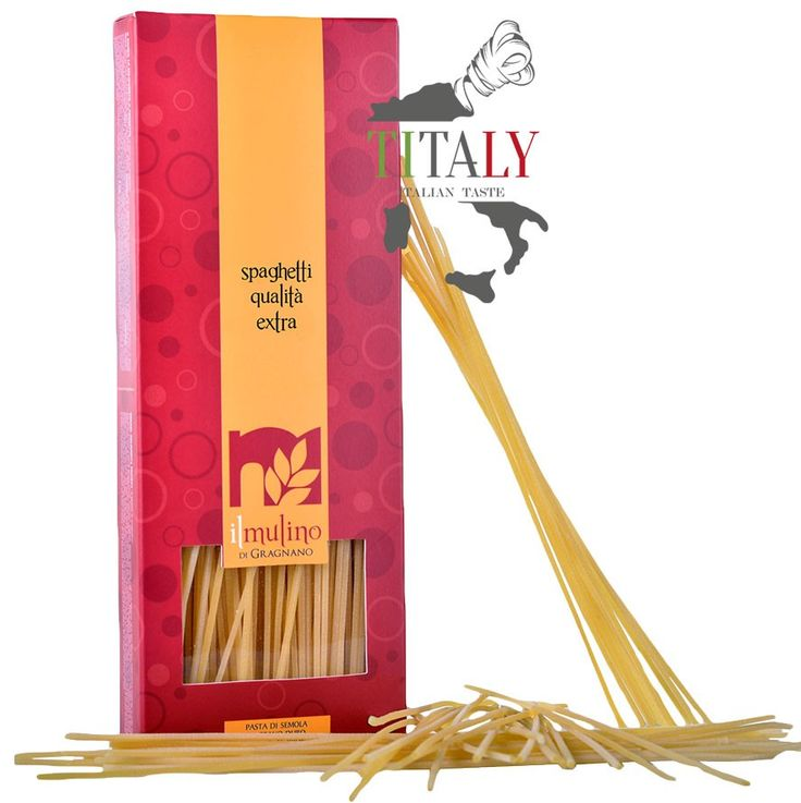 SPAGHETTI GRAGNANO PASTA PGI 500gr - IL MULINO DI GRAGNANO  The Gragnano Spaghetti PGI have a thickness of about 2,7mm, greater than that of the classic spaghetti. This characteristic, along with the traditional method of drying that occurs naturally and very slowly, makes this product special type of pasta ideal for dishes with sauces both by land and sea.