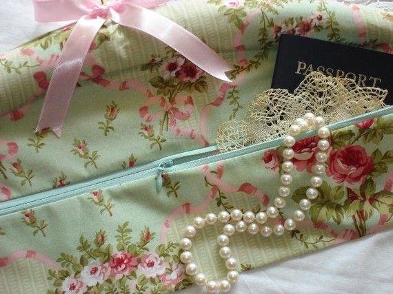 Shabby Chic Rose Travel  Closet Hanger Safe in Mint Green