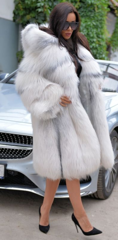 2017 ARCTIC FOX FUR COAT HOOD CLAS CHINCHILLA SABLE MINK SILVER JACKET LONG VEST
