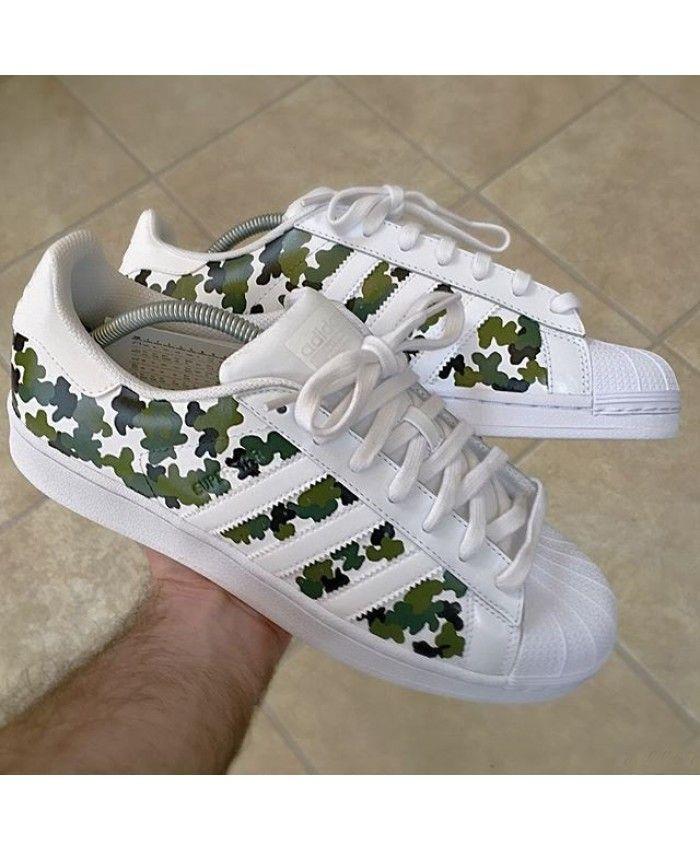 7a16e0c57d Adidas Superstar Custom White Camo Trainers