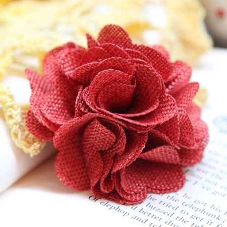 burlap flower hair clip... I need to figure out how to make this... I love it!