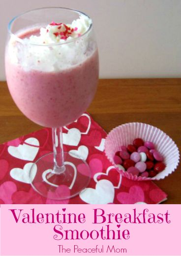 Make this simple, sweet Valentine Breakfast Smoothie for your kids this Valentine's Day -- from ThePeacefulMom.com #valentine