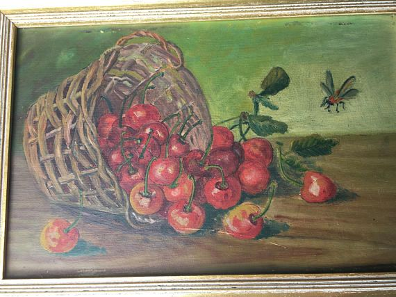 A small oil on board painting featuring a basket of cherries and insects. A classic still life, Europe, XIX Century.  The made to measure frame is included, the painting it is ready to hang.  Size with frame: 12 x 8.2 inches (30,5 x 21 cm).  Another painting by the same artist and with