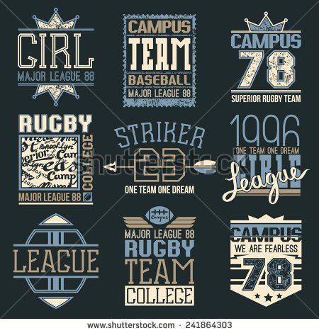 Rugby and baseball team college emblems in retro style. Trendy graphic design for t-shirt. Color print on a dark background - stock vector