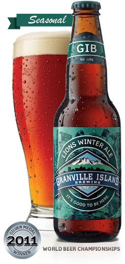 Cerveja Lions Winter Ale, estilo American Amber Ale, produzida por Granville Island Brewing, Canadá. 6% ABV de álcool.