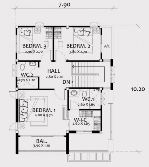 Home Design Plan 8x11m With 3 Bedrooms Home Ideas Home Design Plan House Design Modern House Floor Plans