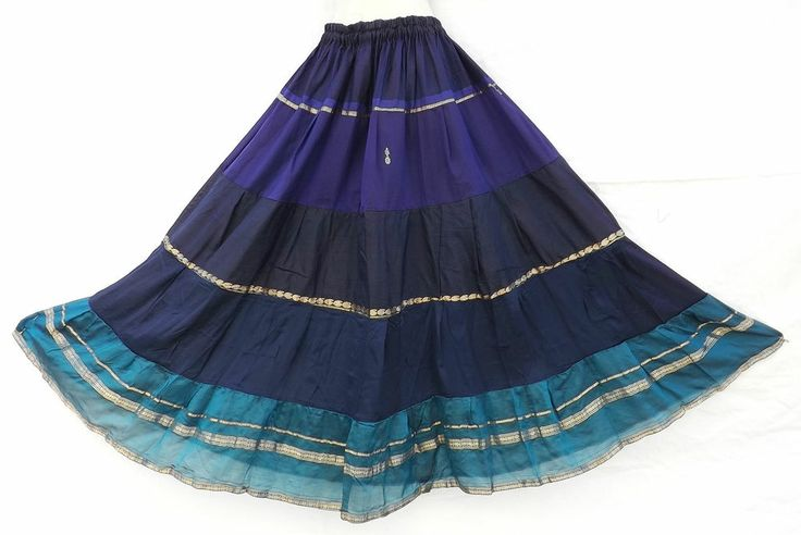 Boho Gypsy Pirate SCA Tribal Belly Dance Costume Vintage Silk Tiered Blue Skirt   Vintage Belly ...
