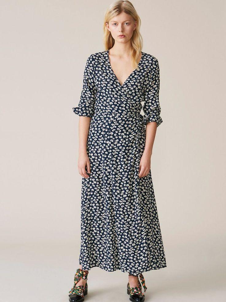 Ganni - Roseburg Crepe Wrap Dress - Total Eclipse