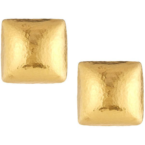 Gurhan 24k Domed Square Button Earrings ($2,282) ❤ liked on Polyvore featuring jewelry, earrings, hammered gold earrings, 24k gold earrings, post back earring, 24k earrings and 24-karat gold jewelry