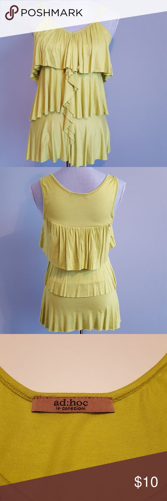 "Lime Green Ruffled Tank Top by Ad Hoc Lime Green Ruffled Tee by Ad Hoc The color is a bright lime green...closer to the picture of the tag. The size is M. 16"" armpit to armpit 25"" from back neck edge to hem Like New Condition Ad Hoc Tops Tank Tops"