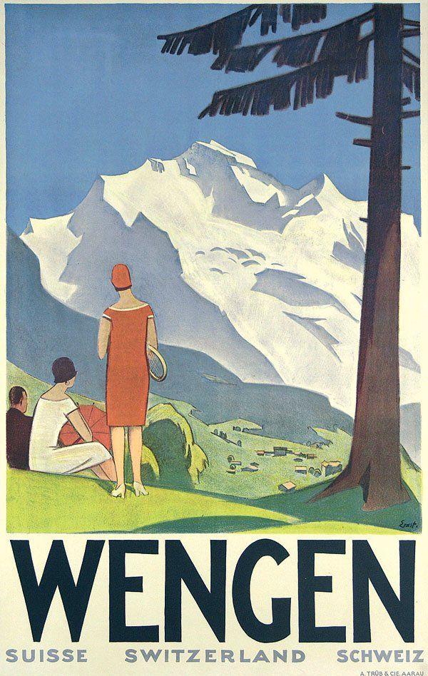 Original Plakat Poster Wengen OTTO ERNST