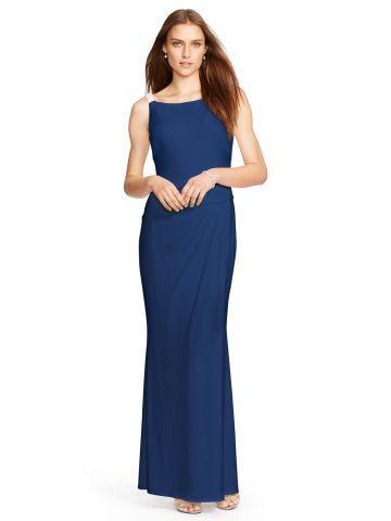 Embellished Cowl-Back Gown - Lauren Evening Dresses - RalphLauren.com