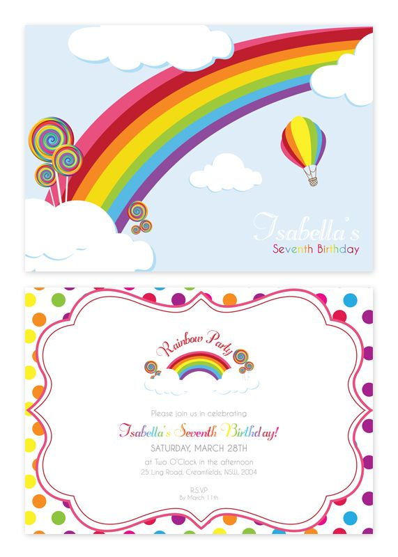 Rainbow Personalised Party Invitations - only from Pink Frosting