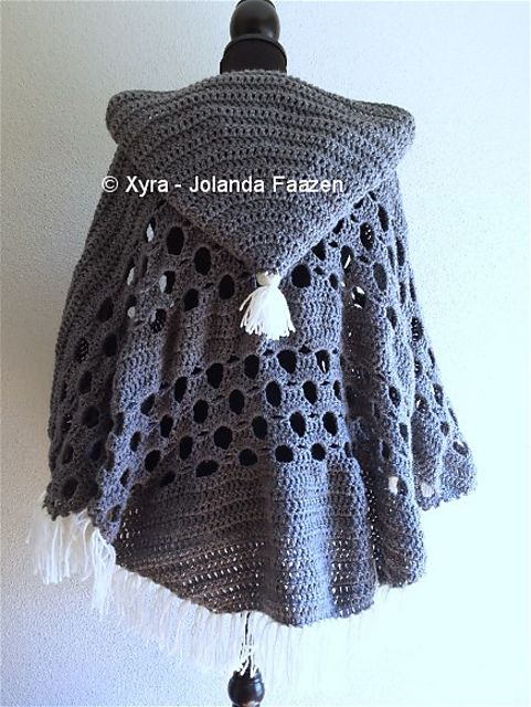 Ravelry: PATR1032 - Poncho with sleeves and large hood by Jolanda Faazen
