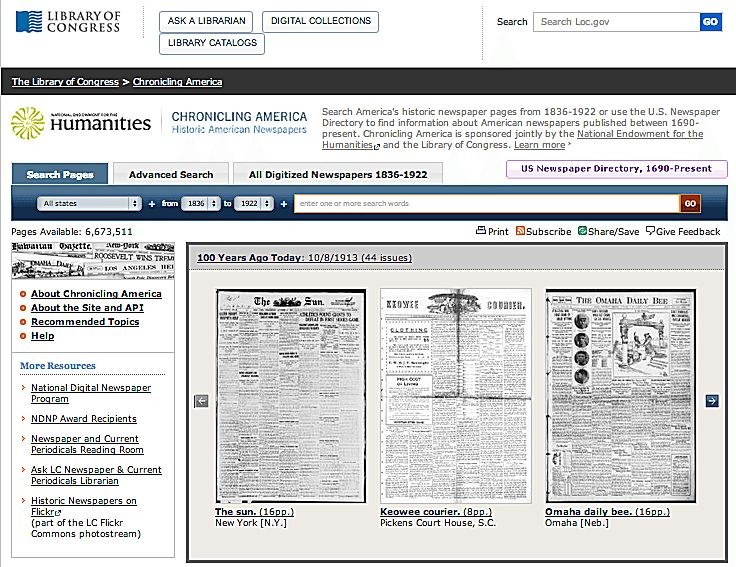 Over 10 million digitized historic American newspaper pages are available online through Chronicling America. Learn how to used advanced search features and other tips to make the most of this free research website.