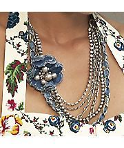 Cynthia Swann did you see this. unique denim necklace with bead accents