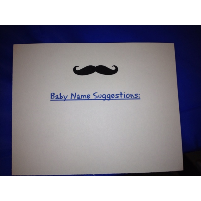 Cards for baby boy name suggestions keeping the mustache theme.