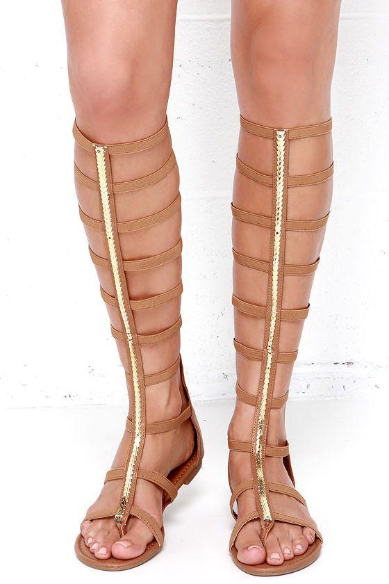 Roman Femme-pire Tan Tall Gladiator Sandals at Lulus.com!