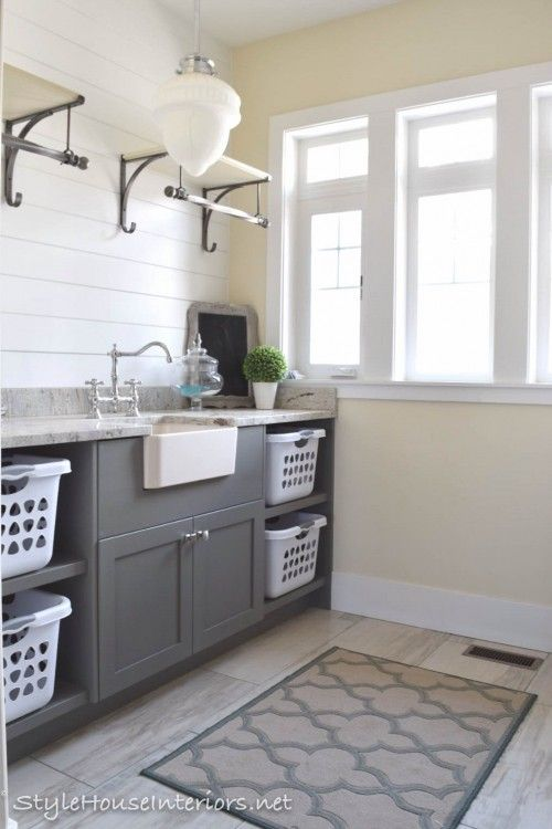 Open shelving+shiplap walls in a laundry room. Love!