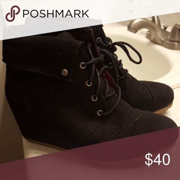 Black suede wedge boots Black suede wedge boots, worn once Shoes Ankle Boots & Booties