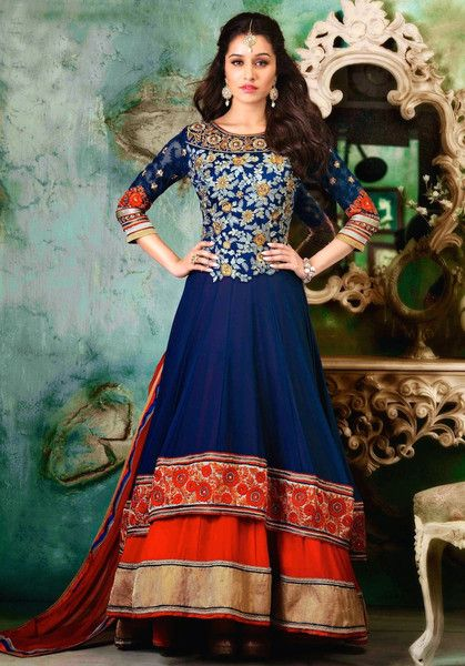 Shraddha Blue and Red Layered Anarkali