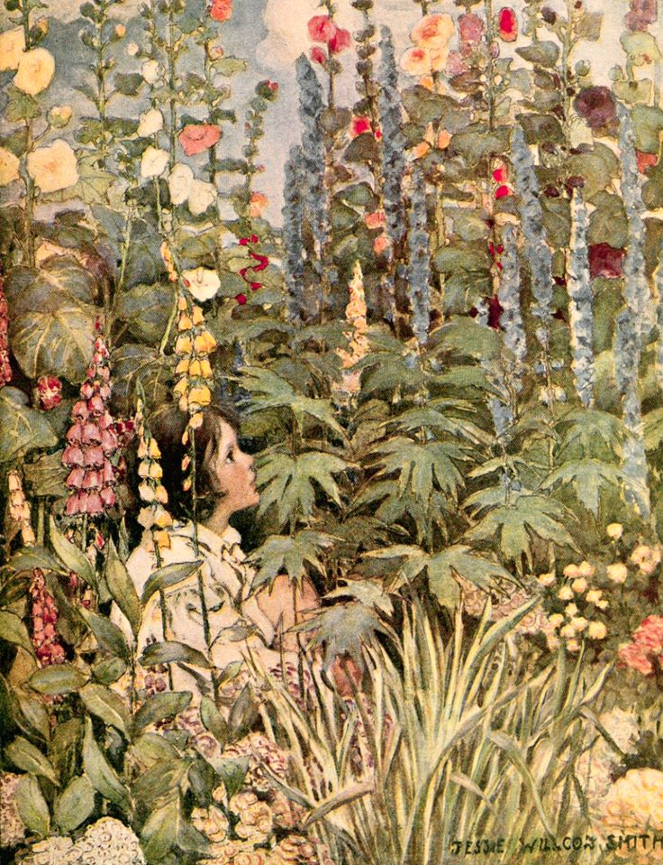 Art by Jessie Willcox Smith (1905) from R. L. Stevenson's A CHILD'S GARDEN OF VERSES.