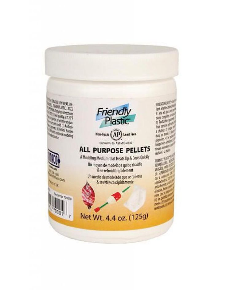 Friendly Plastic Ivory Pellets 4.4oz-When you Google® Friendly Plastic®, you will find inventors and sculptors who make replacement tools, parts, and prototypes with white Friendly Plastic® Pellets. NASA and M.I.T. use Friendly Plastic® for prototypes with scientists and students. Problem-solving and home repairs can be just as easy! Add to warm water for sculpting or pressing into a mold.   Friendly Plastic® Pellets are completely reusable. Simply re-soften and start over.