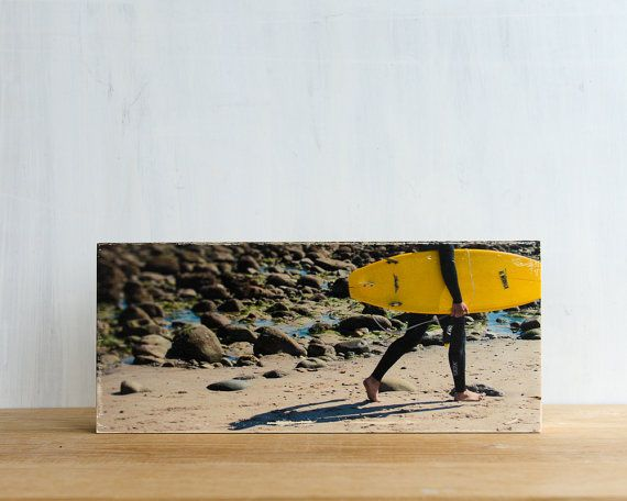 """Surfing Image Transfer on 6""""x14"""" Wood Panel,  'Banana Board' by Patrick Lajoie Photography - surf culture, california"""