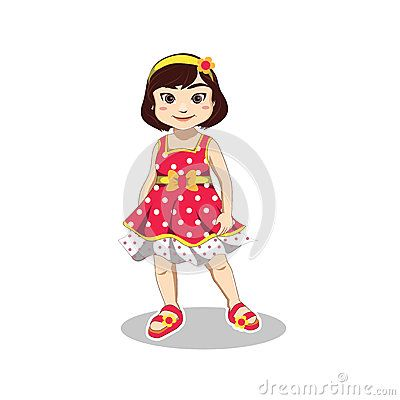 Illustration of cute smiling little girl wears red sleeveless dress, yellow headband  and red slipper in summer vacation
