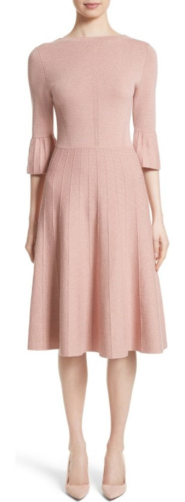 metallic knit fit & flare dress by Lela Rose. Tiny golden threads twinkle like sartorial stars trapped within this densely knit, petal-hued dress styled with playf...