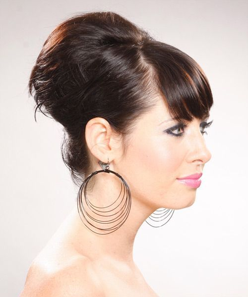 Long Straight Formal Updo Hairstyle with Side Swept Bangs – Dark Chocolate Brunette Hair Color