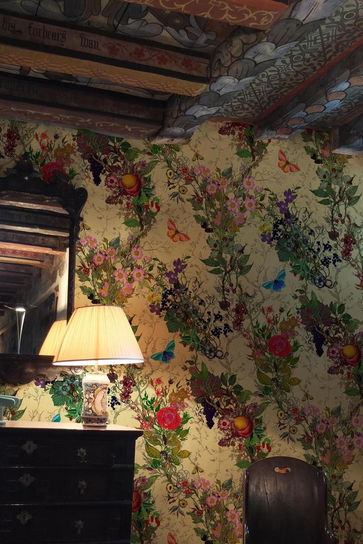 Bloomsbury Garden wallpaper by Timourous Beasties - and the beams are amazing!