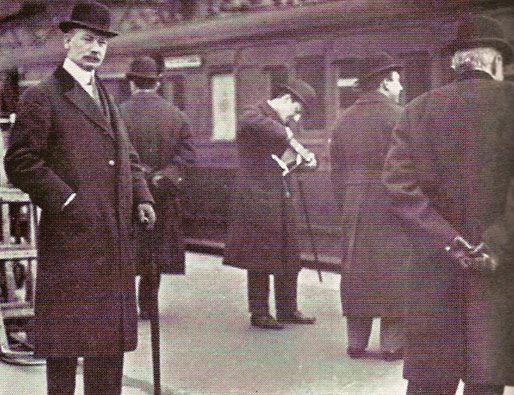 John Jacob Astor, age 48, catching the train that would take him to his death aboard the Titanic, 1912.