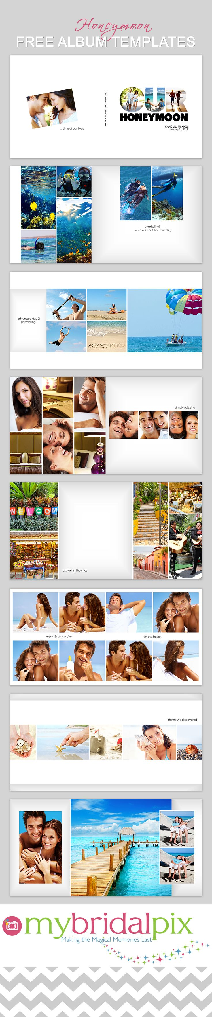 Free #Honeymoon Photo Book #Template- DIY #weddings albums and photo books www.mybridalpix.com