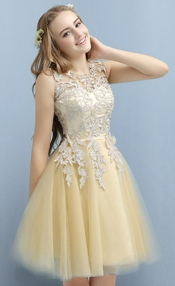 Applique Lace Prom Dress,Short Cocktail Dresses for Juniors,