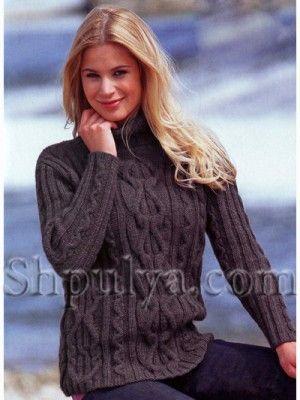 Серый пуловер из мериносовой шерсти, вязаный спицами http://www.shpulya.com/women/sweater/seryi-pulover-iz-merinosovoi-shersti-vja.html