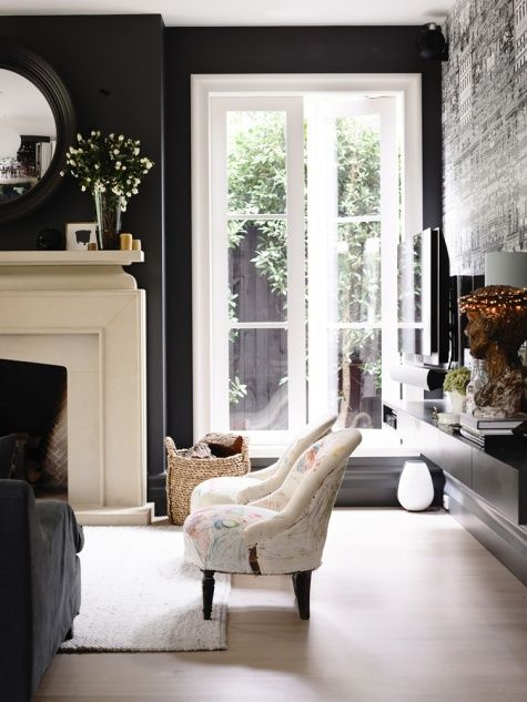 I want my house to look like this I love the dark walls and white window frames - Derek Swalwell Photograpgy