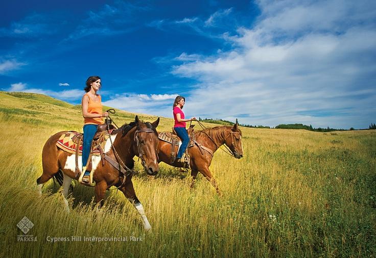 Horseback riding in Cypress Hills Interprovincial Park   #Saskatchewan