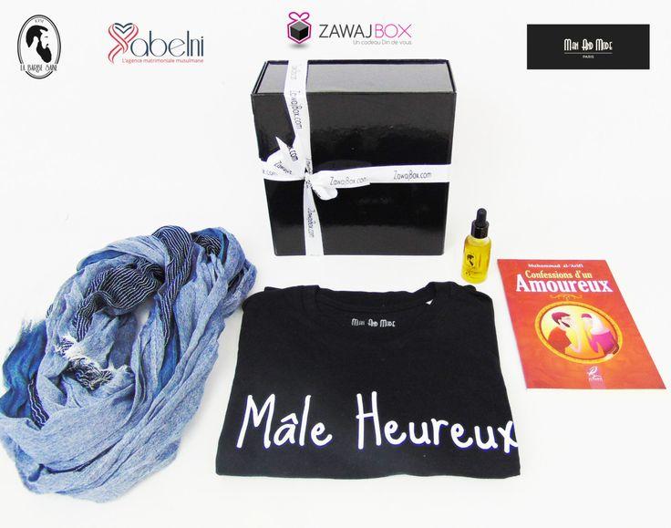 coffret cadeau homme huile a barbe bio t-shirt jeu de mots cherche coton agence matrimoniale musulmane de la boutique ZawajBox sur Etsy
