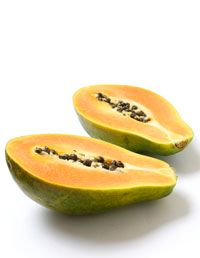 Brighten: Cut a slice of ripe papaya and remove the seeds and pulp (save the pulp for a snack later—it's great for digestion). Rub the inside of the papaya peel on your cleansed face, focusing on lines around the mouth and eyes, crow's feet, thinning temples, neck and hands. Let it dry for 15 to 20 minutes, then rinse with tepid water. This mask can be done twice a week.