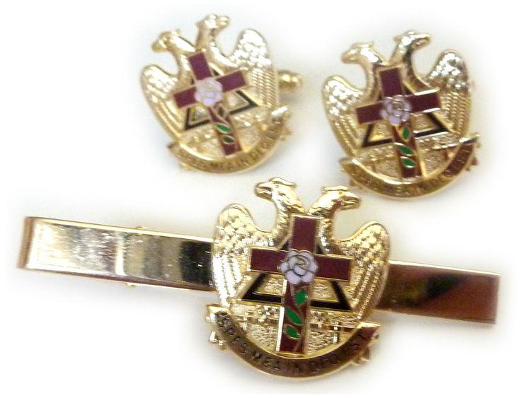 Scottish Rite Rose Croix Cross 32 Degree Masonic Masonry Freemason TIE BAR CUFFLINK SET. TIE BAR & CUFFLINK SET. IRON. Gold Plated. 7/8 inch tall. Epoxy Colorfill.
