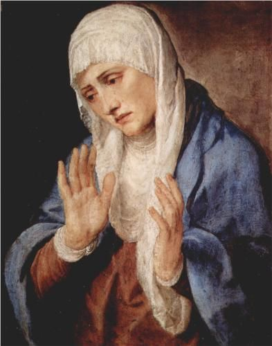Mater Dolorosa (Sorrows) - Titian.  1554.  Oil on panel (Wiki says marble).  68 x 53 cm.  Museo del Prado, Madrid, Spain.