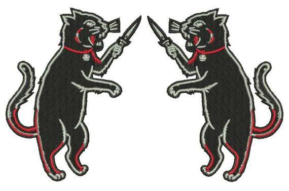 2 coppia ferro il gatto patch Patch spalla bavero specchio immagine Punk Rock…