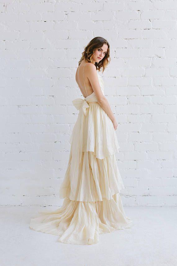Champagne Silk Wedding Dress