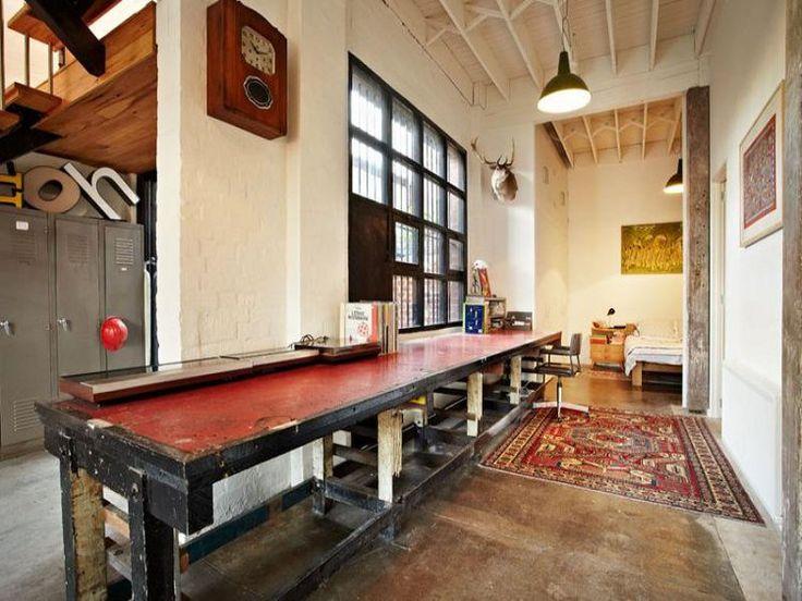 Oh, this work table is AMAZING.Artists Studios, Studios Spaces, Warehouses Apartments, Wareh Convers, Interiors, Abbotsford Wareh, Warehouses Converse, Long Tables, Wareh Apartments